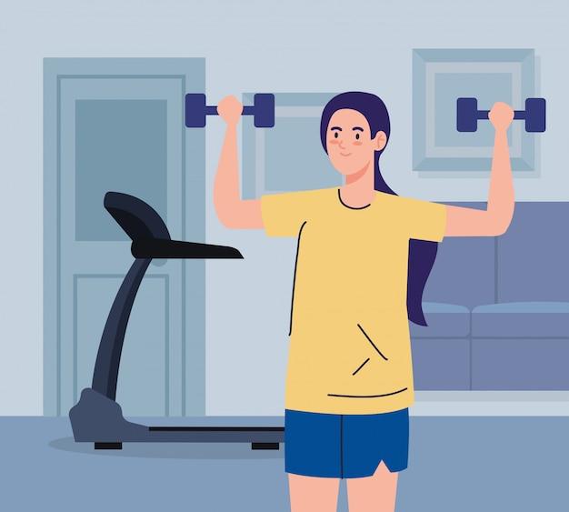 Oefening thuis, vrouw die sport beoefent, met behulp van het huis als een sportschool