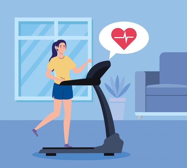 Oefening thuis, vrouw draait op loopband, het huis gebruiken als een sportschool