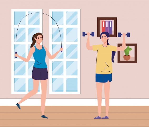 Oefening thuis, vrouwen die gewichten heffen en touwtjespringen, het huis gebruiken als een sportschool