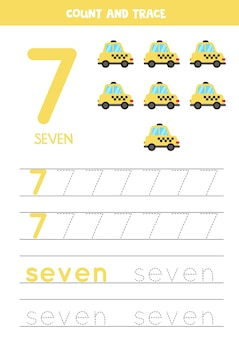 Oefening voor het traceren van cijfers en letters. nummer 7 en het woord zeven schrijven. cartoon taxi.
