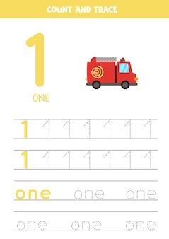 Oefening voor het traceren van cijfers en letters. nummer één schrijven en het woord één. cartoon brandweerwagen.