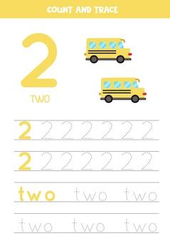Oefening voor het traceren van cijfers en letters. nummer twee en het woord twee schrijven. cartoon schoolbussen.