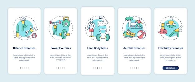 Oefeningen voor het onboarding van het scherm van de mobiele app-pagina met concepten. fitness training.