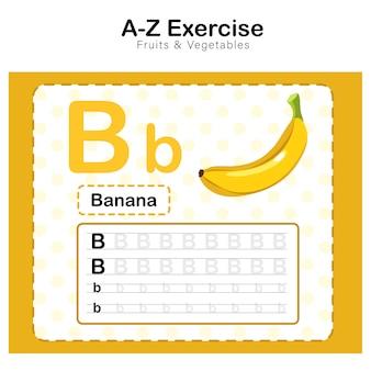 Oefeningenblad voor kinderen, alfabet b. oefening met banaan cartoon woordenschat illustratie