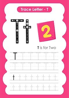 Oefenwerkblad voor schrijven en tekenen met twee traceerlijnen voor kinderen