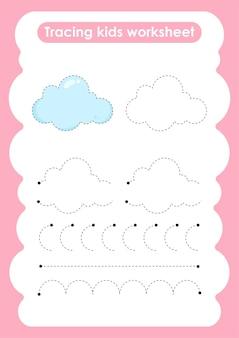 Oefenwerkblad voor schrijven en tekenen van cloud trace-lijnen voor kinderen
