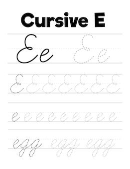 Oefenwerkbladen voor cursief handschrift voor kinderen
