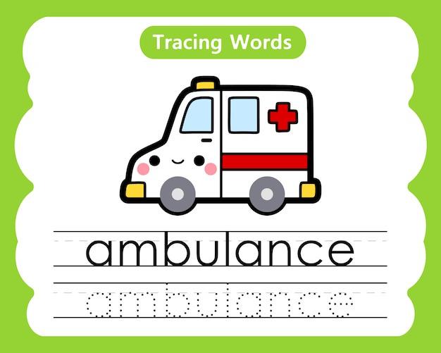 Oefenwoorden schrijven: alfabet volgen a - ambulance