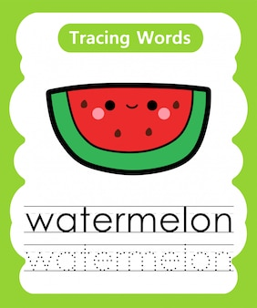Oefenwoorden schrijven: alfabet volgen w - watermeloen