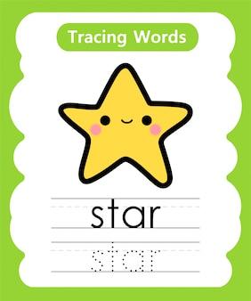 Oefenwoorden schrijven: alphabet tracing s - star