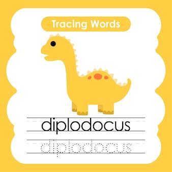 Oefenwoorden schrijven dinosaurusalfabet traceren d diplodocus