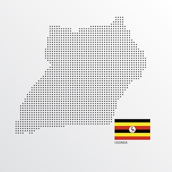 Oeganda kaartontwerp met vlag en lichte achtergrond vector