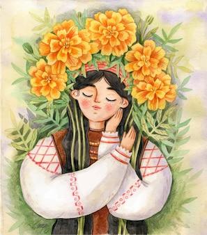 Oekraïens meisje in traditionele kleding met krans van goudsbloem illustratie oekraïne consept