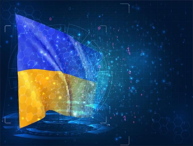 Oekraïne, 3d-vlag op blauwe achtergrond met hud-interfaces