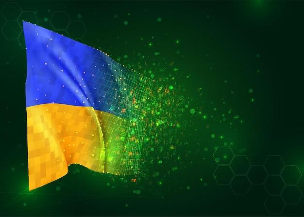 Oekraïne, 3d vlag op groene achtergrond met polygonen
