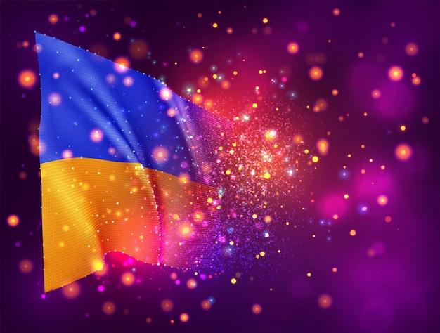 Oekraïne, 3d-vlag op roze paarse achtergrond met verlichting en fakkels