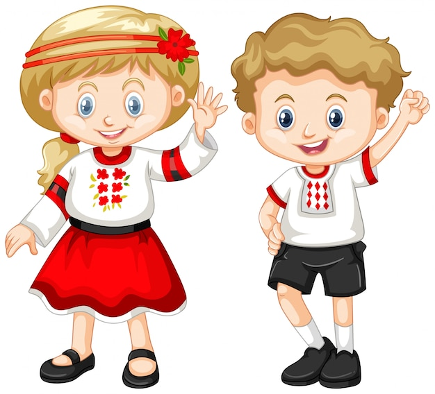 Oekraïne kinderen in traditionele outfit