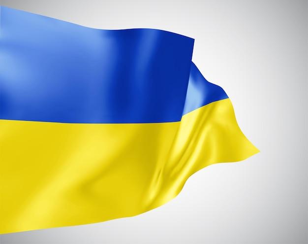 Oekraïne, vector vlag met golven en bochten zwaaien in de wind op een witte achtergrond.