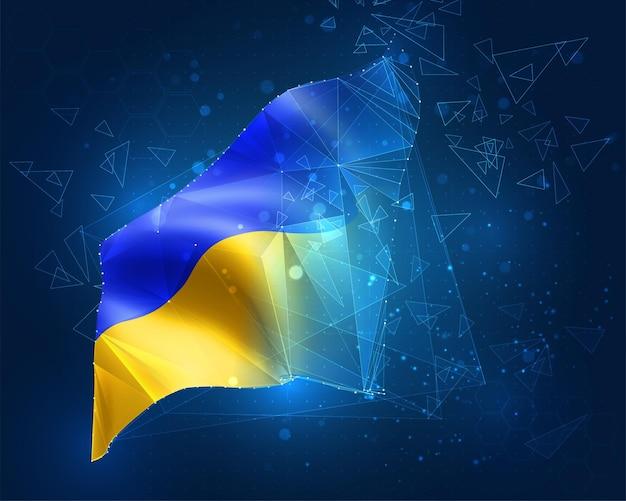 Oekraïne, vlag, virtueel abstract 3d-object van driehoekige veelhoeken op een blauwe achtergrond