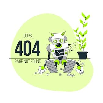 Oeps! 404-fout met een gebroken illustratie van het robotconcept