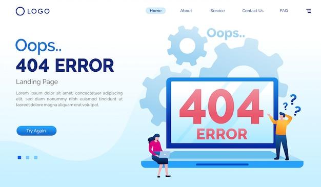 Oeps 404 foutmeldingspagina website plat sjabloon