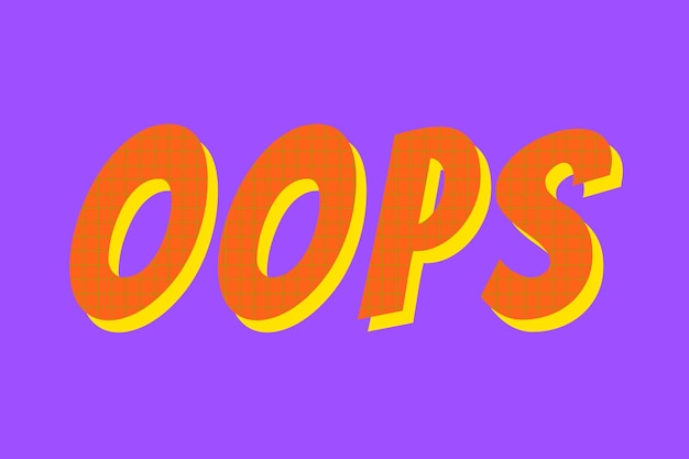 Oeps woord kleurrijke typografie