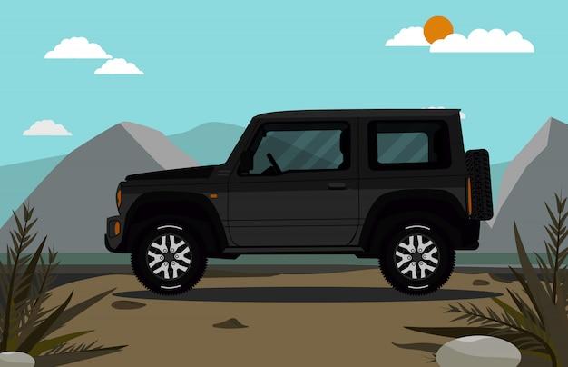 Off-road auto bovenop de berg