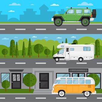 Off-road auto, camper en retro bus op snelweg