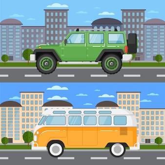 Off-road auto en retro bus in stedelijk landschap