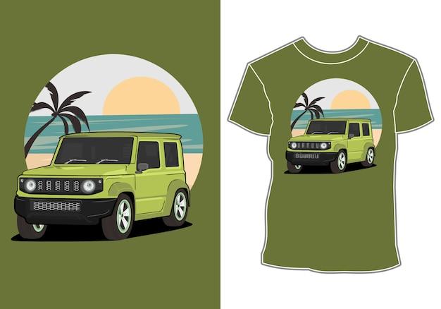 Off-road auto en strand t-shirt ontwerp