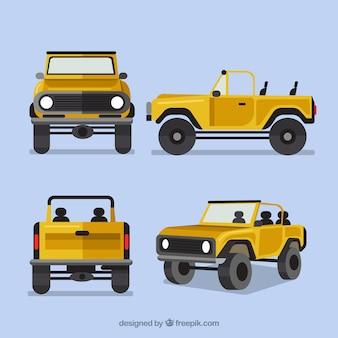 Off-road auto in verschillende uitzichten