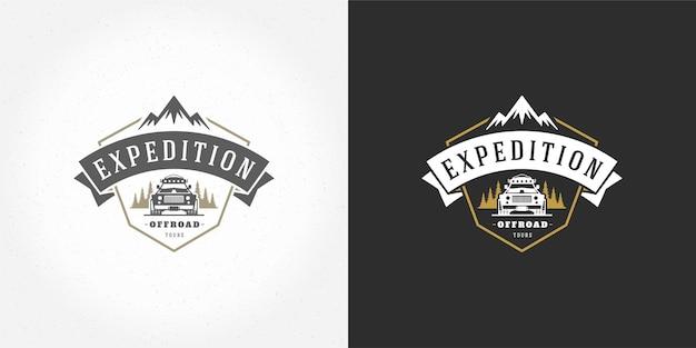 Off-road auto logo embleem vector illustratie buiten extreme avontuur expeditie safari suv