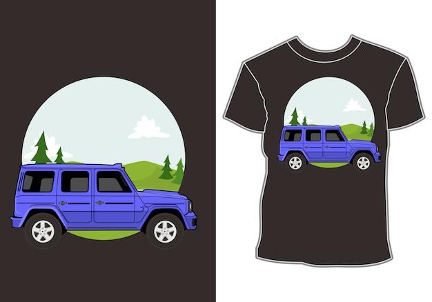 Off-road, avontuurlijke auto en berg t-shirt design