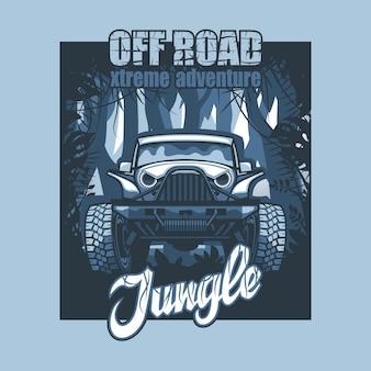 Off road extreme adventure jungle, suv-poster op de achtergrond van ondoordringbare bossen.