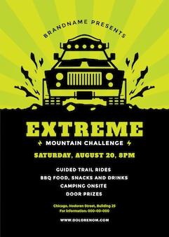 Off-road truck competitie poster of flyer evenement moderne typografie ontwerpsjabloon en x suv auto