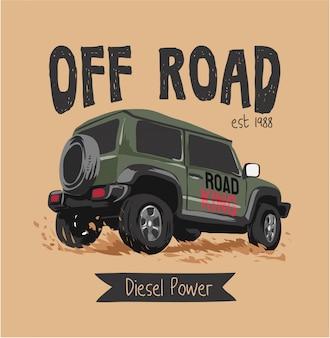 Off-road truck en slogan