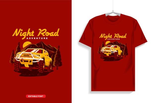 Off-road truck t-shirt ontwerp illustratie