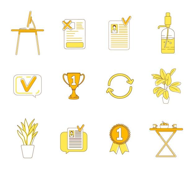 Office-artikelen gele lineaire objecten instellen. bedrijf, zakelijke werkruimte dunne lijn symbolen pack. meubels, decoratieve planten, trofee en cv geïsoleerde schetsillustraties op witte achtergrond