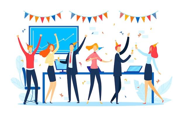 Office bedrijfsfeest, gelukkig business team stripfiguur, illustratie. platte groepsviering, bedrijfsmensen werken op vakantie. vrouw man leuk vieren met confetti.