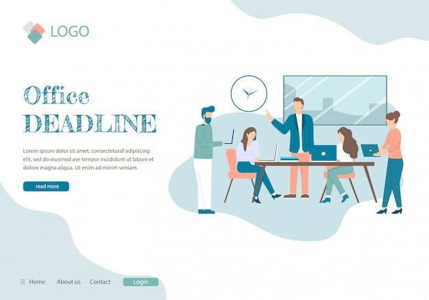 Office deadline mensen werken in de kamer alarmdruk