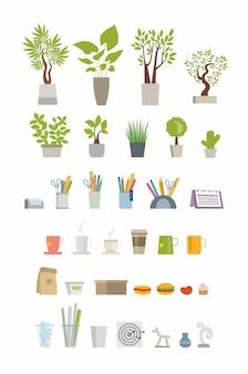 Office essentials - moderne kleur vector plat pictogrammen instellen. kamerbomen, planten, cactus, vaas, notitie, sticker, potlood, pen, schaar, kalender, organizer, koffiemok, kopje, hamburger, thee, prullenbak, darts
