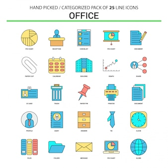 Office flat line icon set