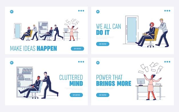 Office fun bedrijfscultuur gelukkige mensen rijden fauteuils