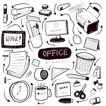 Office hand getrokken doodle collectie set
