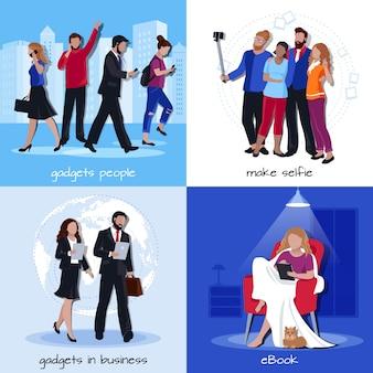 Office home gadgets 4 platte pictogrammen