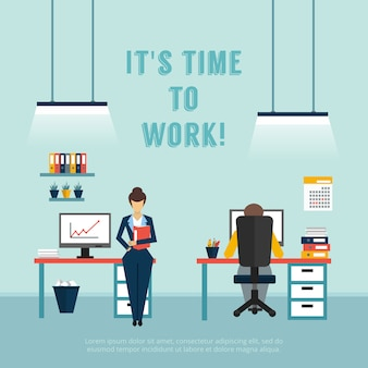 Office interieur poster met tekst is het tijd om te werken