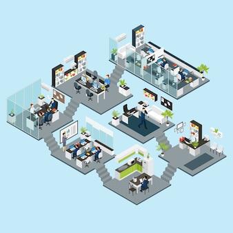 Office isometrische verschillende verdiepingen