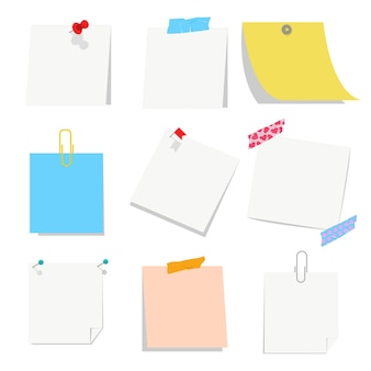 Office leeg papier blanco met pin, tape en paperclip set