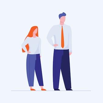 Office man en vrouw staande hand in hand op taille