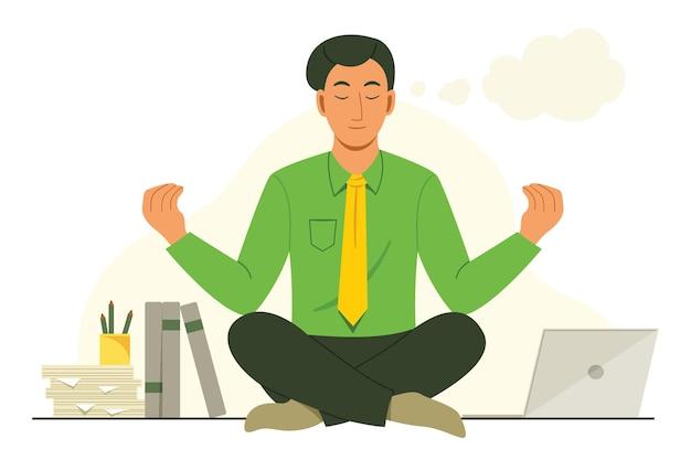 Office man zit op bureau om te mediteren